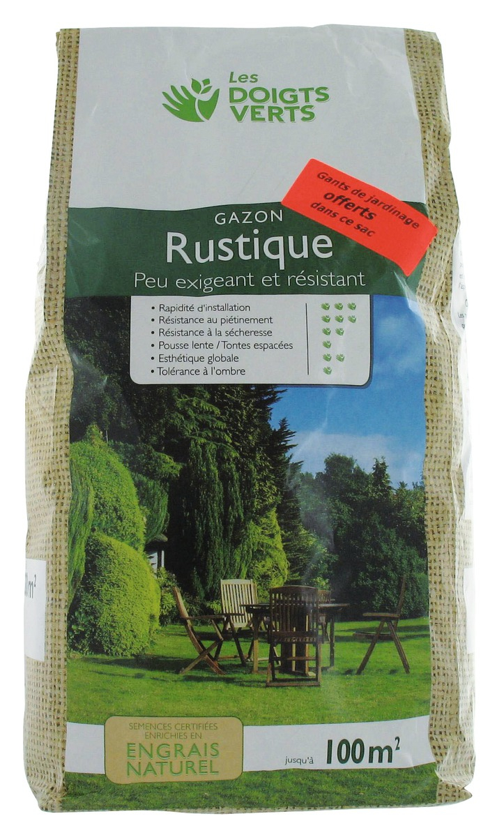 Gazon rustique LES DOIGTS VERTS pour 100 m² enrichi en engrais naturel