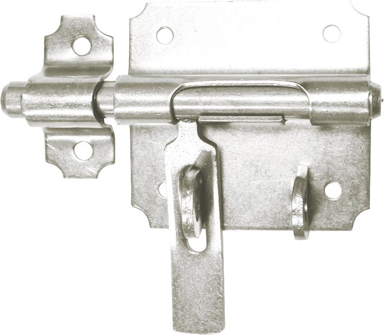 Verrou de box à gland à porte-cadenas acier zingué Pêne 14 mm